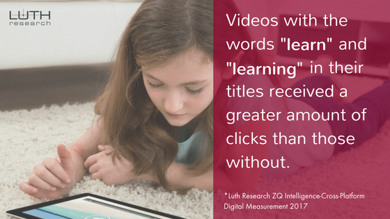 """Videos with the words """"learn"""" and """"learning"""" in their titles received a greater amount of clicks than those without."""
